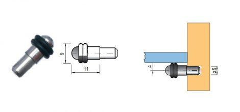 Polctartó tüske üvegpolchoz 5mm