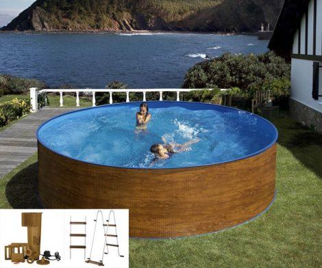 PONTAQUA ECO WOOD merevfalú medence, vízforgatóval és létrával