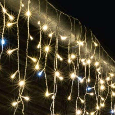 LED-es jégcsap fényfüggöny, sziporkázó,